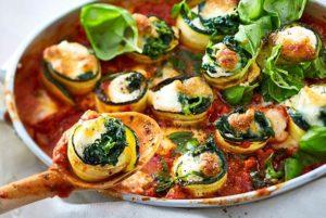 Gemüße-Lasagne-Röllchen